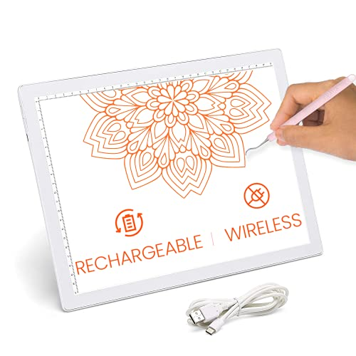 iVyne Rechargeable Led Bright Ultra-Thin Light Pad A4 Powered by Lithium Battery for Cricut Vinyl, Weeding Tools, Drawing Crafting Box/Board for Tracing, Sketching & HTV (White)