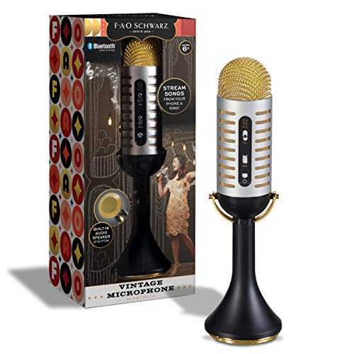 FAO Schwarz Karaoke Music Microphone w/Built-in Portable Handheld Speaker for Parties, Bluetooth & Smartphone Compatible, Vintage 20s Ribbon Style, USB, AUX Cable & Headphone Jacks, Rechargeable