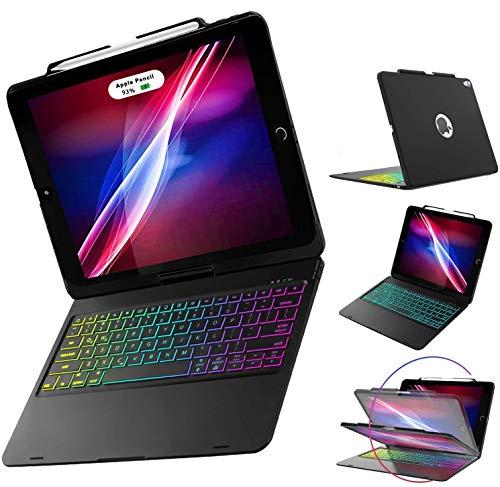 ILEBYGO iPad Pro 12.9 Keyboard Case 2018 3rd Gen Support Apple Pencil Charging, 360 Rotatable Wireless Bluetooth Colorful Backlit/Auto Sleep-Wake/Ultra-Thin Keyboard(Black)