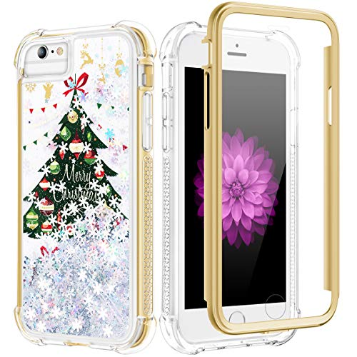 Caka Glitter Case for iPhone 6 6S 7 8 SE 2020 Case Christmas for Women Girls Bling Shiny Full Body Heavy Duty TPU Bumper Liquid Flowing Snowflake Shockproof Case for iPhone 6 6S 7 8 SE 2020 (Tree)