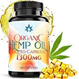 Hemp Oil Capsules - 1300mg Organic Hemp Extract for Pain Relief, Joint Pain, Muscle Aches, Stress & Anxiety - Natural Sleep & Mood Support - Rich in Omega 3 6 9 & fatty-acids Made in USA - 60 Softgels