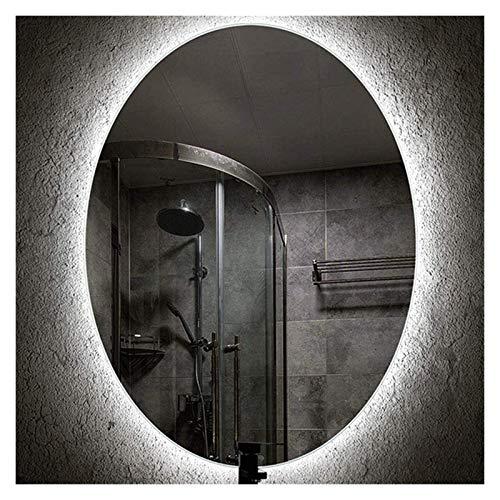 Espejo de luz LED inteligente, ovalado sin marco, montado en la pared (color: A, tamaño: 50 x 70 cm)