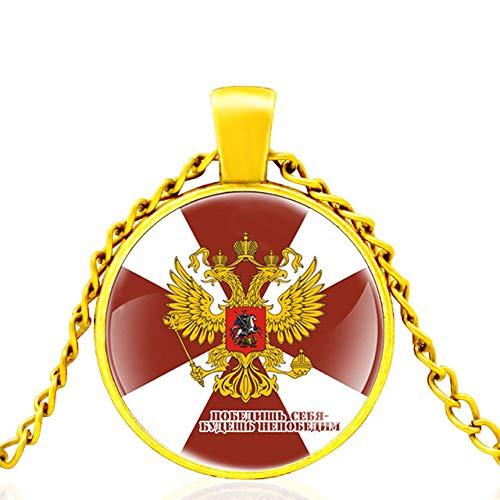 Российская Федерация Russische Föderation Glaskuppel Anhänger Halskette Männer Frauen Mode Schmuck Accessoires Geschenke 80Cm
