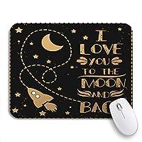 ROSECNY 可愛いマウスパッド バレンタインデーラブトゥムーンスリップ防止ラバーバッキングコンピューターマウスパッド(ノートブックマウスマット用)