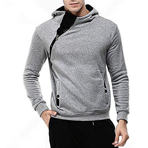 YEBIRAL Herren Kapuzenpullover mit schrägem Zipper Hoodie Sweatshirt Rollkragenpullover Sweatjacke(M,Grau)