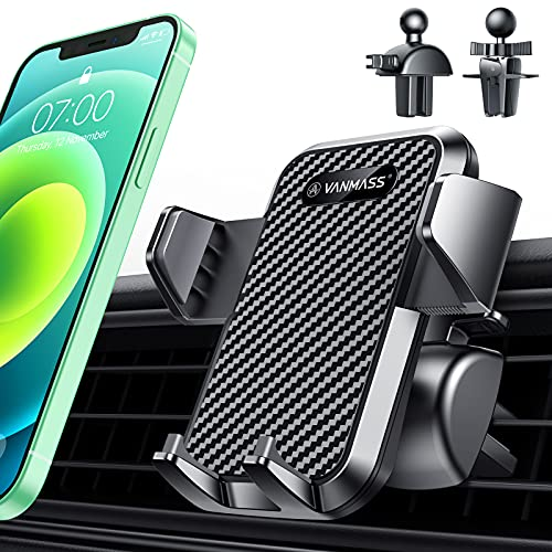 VANMASS Universal Car Phone Mount,【Patent & Safety Certs】 2021 Upgraded Steel-cored 3-Level Clip Air Vent Phone Holder for Car, 20X Stable & Durable, Compatible with iPhone 12 and All Smart Phone