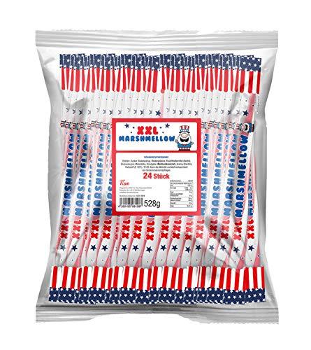 Tise Süsswaren Bay Mellow XXL American Marshmellow Mellow Sticks Wurfmaterial Karneval Fasching Geburtstage Events Veranstaltungen Partys, 24 Stück