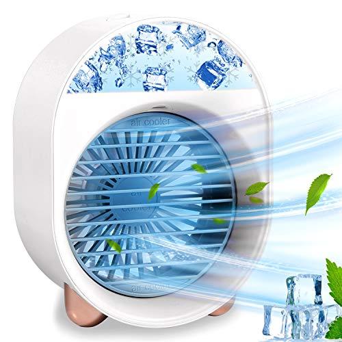 Mini Mobile Klimageräte, Mini Persönliche Klimaanlage, Air Cooler USB Verdunstungskühler Mit Wasserkühlung Luftbefeuchtung Ventilator, 3 Geschwindigkeiten, Ideal für Arbeitsplatz und Daheim (White)