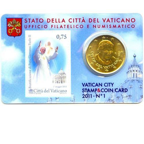 Coincard 50 Cent Vatikan 2011 Nr.1 mit Briefmarke