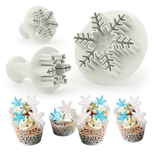 Ambaris Snowflake Cookie Cutter Set - Cake Decorating Mold Fondant Plunger Tool, Christmas Cutters Stamp Shaped as Snowflakes, Holiday Cookie Molds Stamps, Frozen Cake Candy & Cupcake Decorations