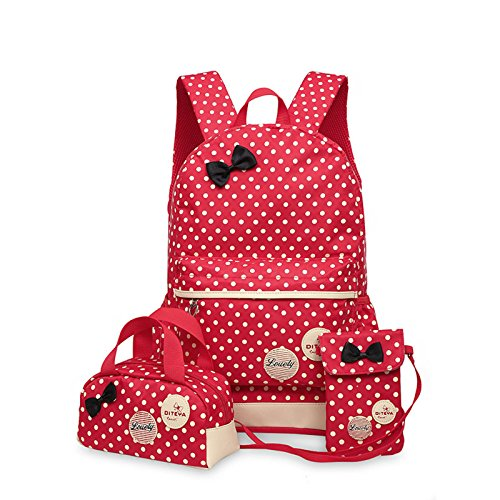 WSLCN Conjunto de mochilas de lona para meninas, mochila escolar com zíper, bolsa de viagem, bolsa de ombro, bolsa de ombro para crianças, bolsa de ombro, bolsa de laptop, bolsa de ombro casual, estojo de lápis de bolinhas, 3 peças, vermelho