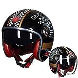 WWJIE (Oro Nero Lucido) Casco Moto Integrale ECEFlip up Casco Moto, off-Road Racing, Motocross, per Honda/Yamaha/Suzuki/Kawasaki, Casco Bandit.-XL