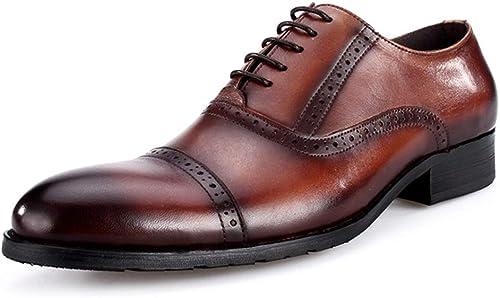HGDR Chaussures Brogues Oxford en Cuir véritable pour Hommes, Hommes, Robe de soirée Officielle pour Mariage, Brun, Noir  tous les produits sont spéciaux