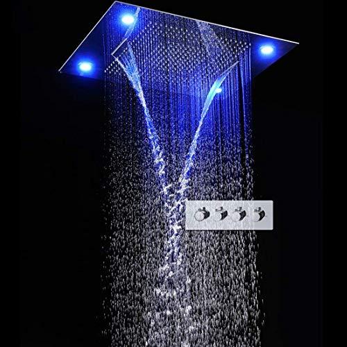AZWE Große Regendusche Wasserfall + Niederschlag + Regen Vorhang Modus Fernbedienung Led Deckeneinbau Multifunktions Duschkopf Duscharmaturen