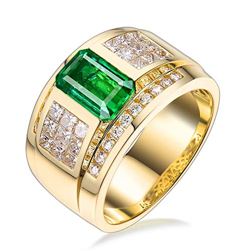 AtHomeShop Real Gold Collection, 18K Yellow Gold Rings, Geometry Solitaire Ring with Sparkling Rectangular Emerald and Diamond Marriage Proposal Ring Gift for New Year and Valentine's Day gold