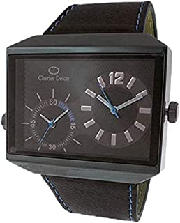 Charles Delon Mens Quartz Watch, Analog Display and Leather Strap 5383 GBBL
