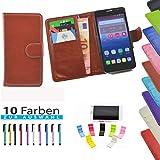 5 in 1 set ikracase Slide Hülle für Medion Life P5006 Smartphone Tasche Case Cover Schutzhülle Smartphone Etui in Braun