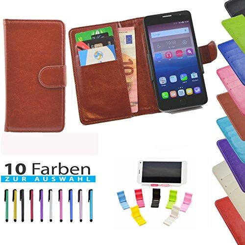 5 in 1 set ikracase Slide Hülle für Archos 50 Titanium 4G Smartphone Tasche Case Cover Schutzhülle Smartphone Etui in Braun
