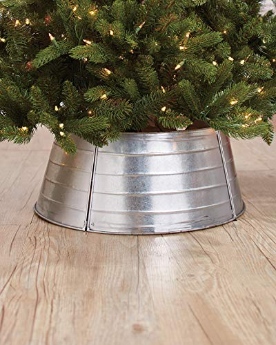 The Lakeside Collection Galvanized Metal Christmas Tree Ring - Rustic Farmhouse Holiday Decoration