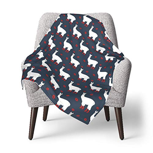 HFdAK.t Llama in Boots and Red Lip Baby Blanket, Receiving Blankets for Infant Newborn Soft Nursery Blanket 30 X 40 Inch