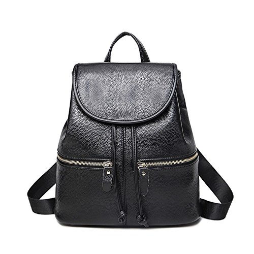 Premium Girl Day Durable Backpack for School, Best Comfortable College Backpack, Travel, Outdoor PU Leather Backpack – Black