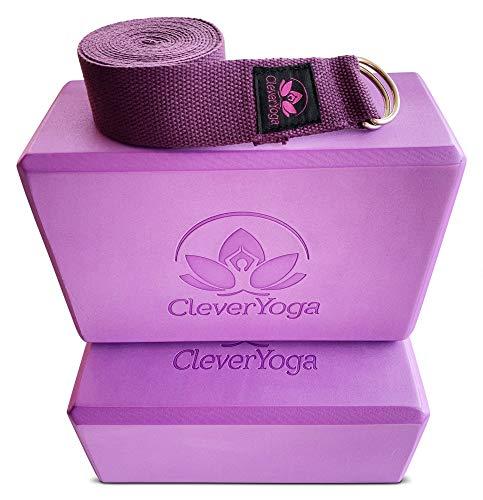Yoga Blocks and Strap Set - Purple Yoga Blocks 2 Pack with Purple 8 Foot Yoga Strap - Yoga Accessories