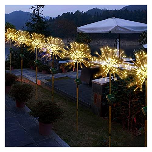 HTTIB Luces solares de Navidad Firework Garden 120 LED Powered Copper Alambres Cadena de luz de paisaje Auto ON-Off blanco cálido impermeable lámpara solar para pasarela, patio, césped patio trasero