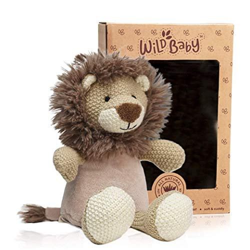 WILD BABY Lion Stuffed Animal - Heatable Microwavable Plush Pal with Aromatherapy Lavender Scent for Kids - 12'