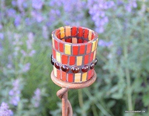 Handgefertigtes Windlicht Tiffany rot orange 7 cm