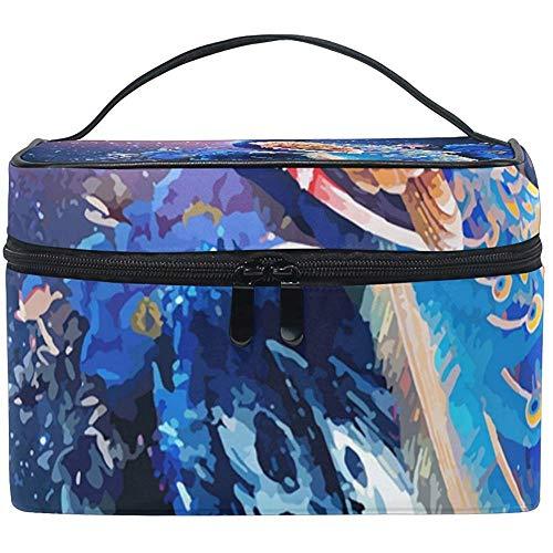 Sacs de Maquillage de Voyage Beau Sac cosmétique Bleu Paon Sacs de Toilette Étui Multifonction Portable