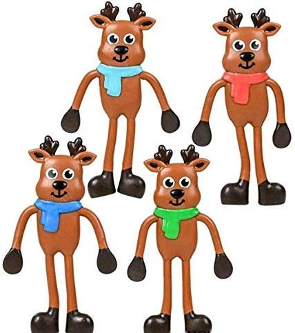 4.5 inch Christmas Reindeer Bendables - Fun Toys - Stocking Stuffers - (24 Pack)
