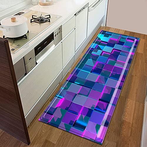 Alfombra 3D con patrón geométrico para dormitorio, entrada, decoración del suelo, sala de estar, baño, alfombra antideslizante A18, 50 x 160 cm