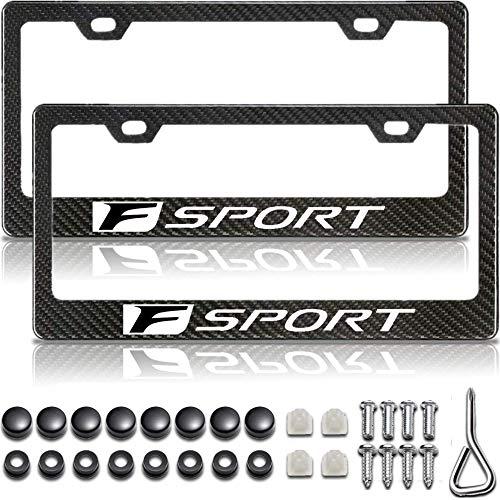 Gloss Black Carbon Fiber Patterned Matte Black Metal License Plate Frame for Lexus F Sport, Accessories for Lexus F Sport, License Plate Cover/Holder for Lexus F Sport (2 Car Plate Frames)