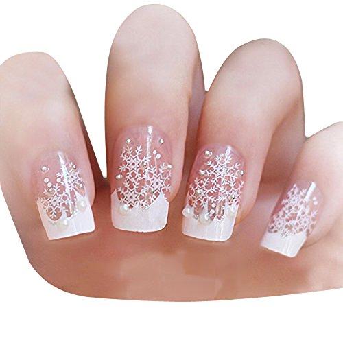 TININNA 24 pcs Brillo para Uñas, Uñas Stickers, Nail Art y 3D Nail Art Rueda Manicura con Blanco Copo de Nieve.