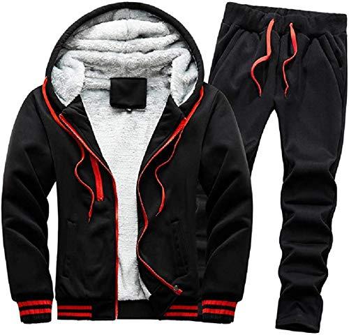 Mens Zip Up Sweatshirt Hoodies Thicken 2 Pc Sports Jacket and Pants Set with Fleece Lined