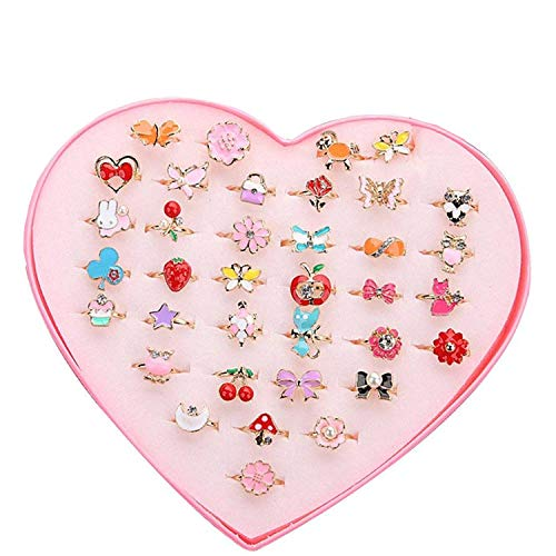 Ouinne 36 PCS Adjustable Rings Set, Jewelry Rings with Heart Shape Box for Princess Dress Up Play Birthday Party Supplies
