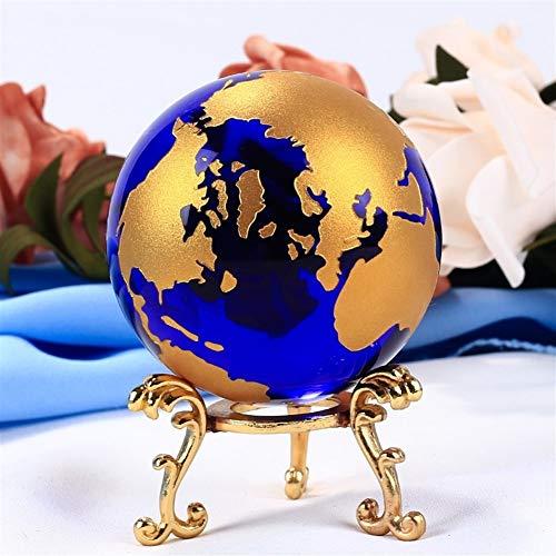 ZZLLFF 60mm Blau Farbiger Erdkristall Modell Kugel Glaskugel mit einem Base Crafts Briefbeschwerer for Haus-Ornamente Geschenke Home Decor (Color : Ball)