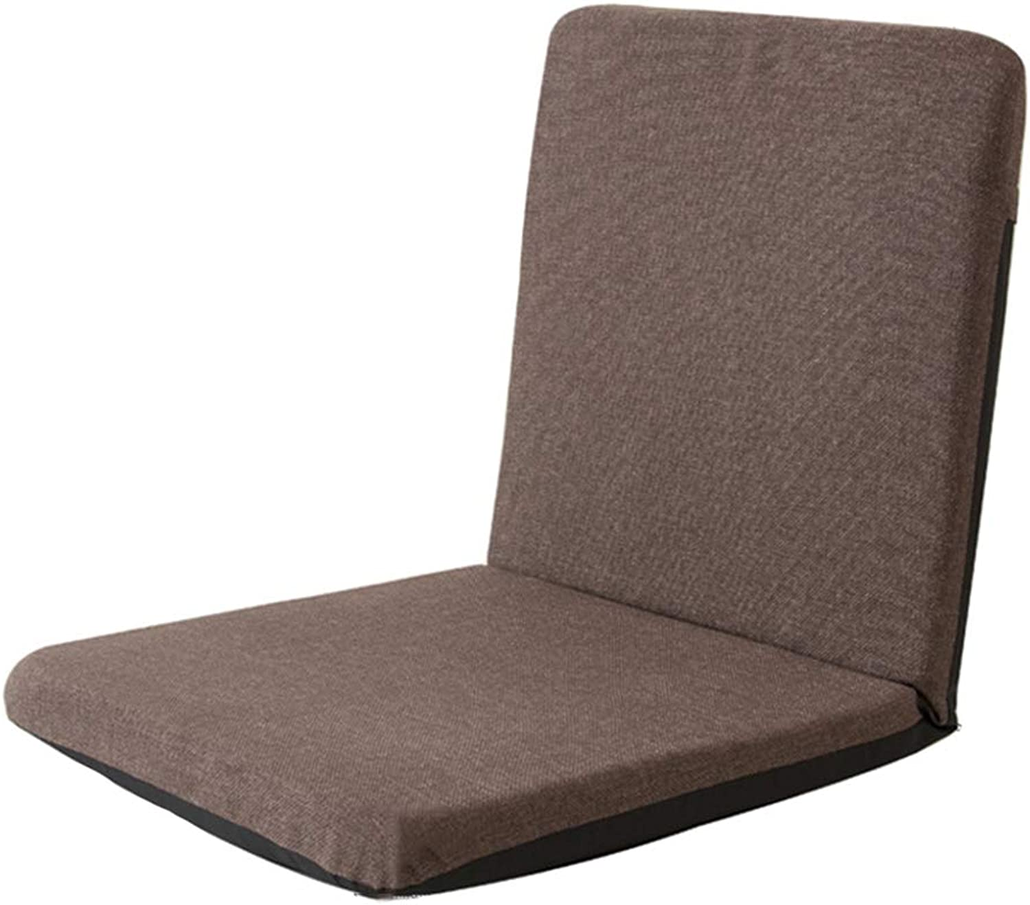 LJFYXZ Floor Folding Gaming Sofa Chair Single Small Sofa 5-Speed Adjustment Cotton and Linen Fabric Comfortable and Breathable Easy to Remove and wash Bedroom Living Room Cushion (color   Brown)
