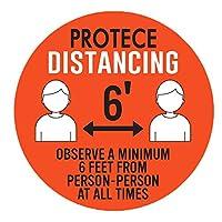 ACAO 6Pcパブリックキープ距離標識ステッカー6フィート離れた場所に設置防水安全フロアサイネージ(Color:RD)