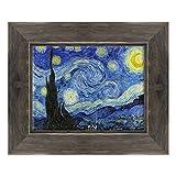 Cuadro sobre lienzo enmarcado con marco de Van Gogh Starry Night - Noche estrellada - 30 x 40 cm - Estilo Country Negro Shabby - (cód. 2671)