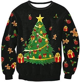 SDJYH, Sudaderas con Estampado de árbol de Navidad de Talla Grande para Hombre y Mujer, Camisetas de Manga Larga con Cuell...