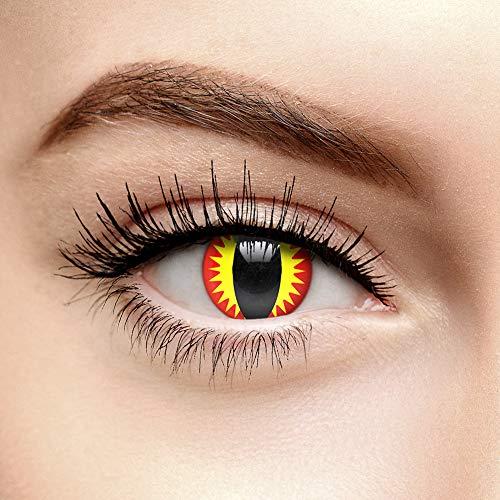 Chromaview Lentillas de Color Rojo Ojo de Dragón de 30 Días - Sin Graduación