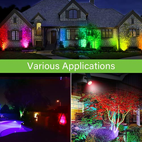 7 Color Changing Solar Spot Lights,Outdoor 18 LEDs Solar Landscape Spotlight Waterproof 2-in-1 Security Wall Lamp RGB Lighting for Garden Path Patio Yard Driveway Trees Flags Holiday Decoration 4 Pack