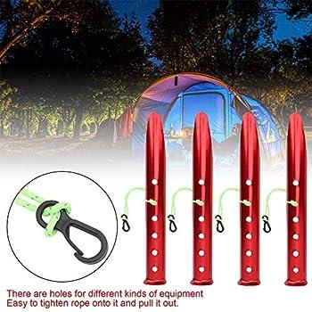 Camping Tente Stakes Pegs, Cornières En Alliage D'aluminium Pour Camping Plage De Sable Extérieur Tente 4pcs Rouge