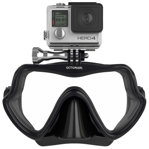 OCTOMASK - Frameless Dive Mask w/Mount for All GoPro Hero Cameras for Scuba Diving, Snorkeling, Freediving (Black)