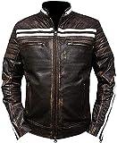 PriceRight Cafe Racer - Chaqueta de cuero para hombre, chaqueta de cuero...