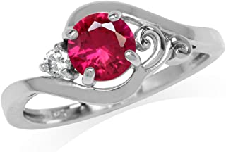 Synthetic Ruby Red and White Cubic Zirconia Gold Plated 925 Sterling Silver Engagement Ring