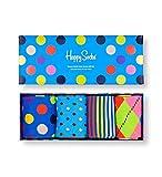 Happy Socks farbenfrohe & verspielte Classic Multi-Color Socks Gift Box 4-Pack Geschenkboxen für Männer & Frauen, Premium-Baumwollsocken, 4 Paare, Größe 41-46.
