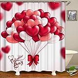 3D Digital Romantisch Rot Herz Druck Duschvorhang für Valentinstag/Hochzeit/Home/Hotel Decor 180x180cm
