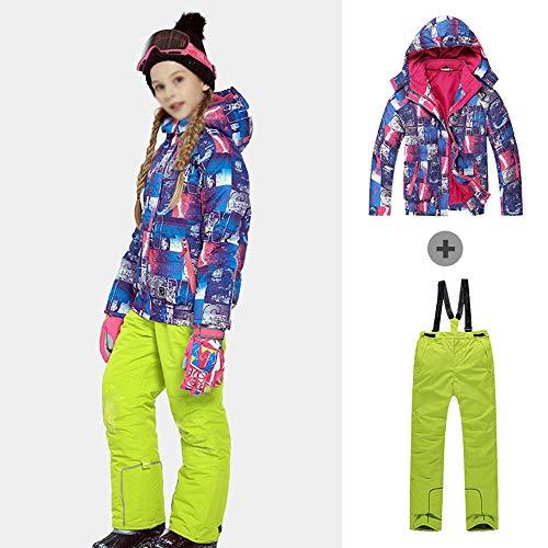 Skianzug für Kinder Set Skibekleidung Winter windundurchlässige wasserdichte Jacke und Schneehosen verdicken warme Outdoor Bekleidung geeignet für Jungen und Mädchen 100-170cm in Höhe,Gelb,170/176